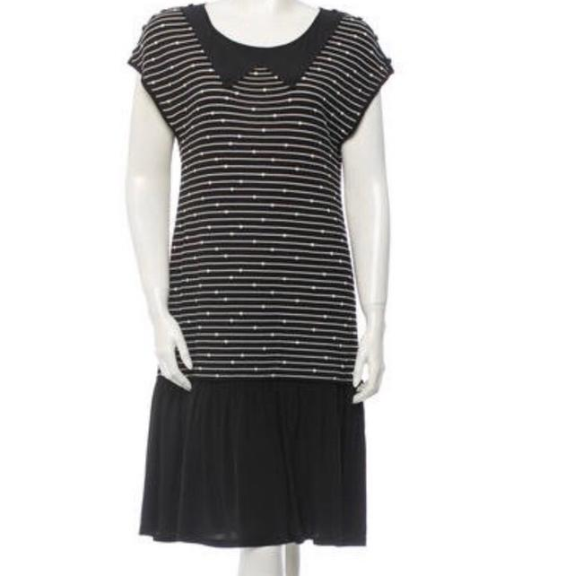 Item - Black with White Embroidery Ca0524377 Mid-length Night Out Dress Size 10 (M)