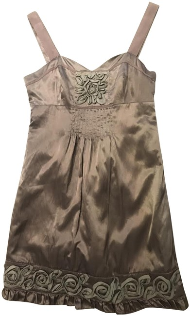 Item - Taupe Rose Satin Silky Shift Short Night Out Dress Size 4 (S)