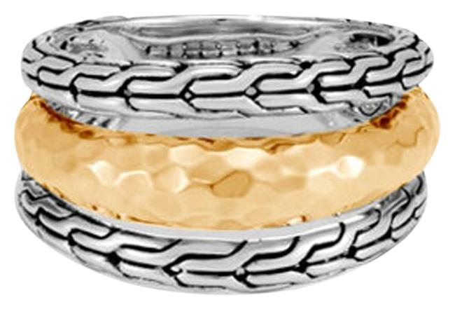 Item - Sterling Silver & Yellow Gold Classic Chain Hammered 18k 1643 Ring