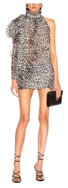 Item - Black/Gray One Shoulder Metallic Leopard Mini Short Night Out Dress Size 6 (S)