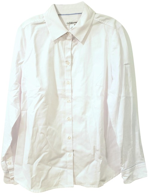 Item - White Button Up Women Fits 4-6 Long Slee Button-down Top Size 4 (S)