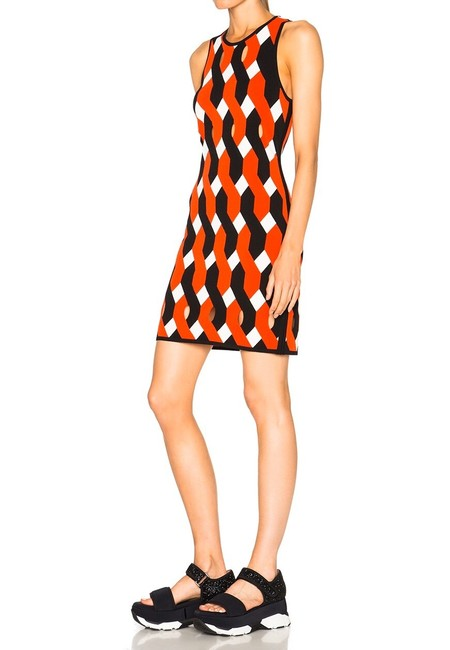 Item - Red Black White Olympia Geometric Pattern Knit Bodycon Short Night Out Dress Size 8 (M)