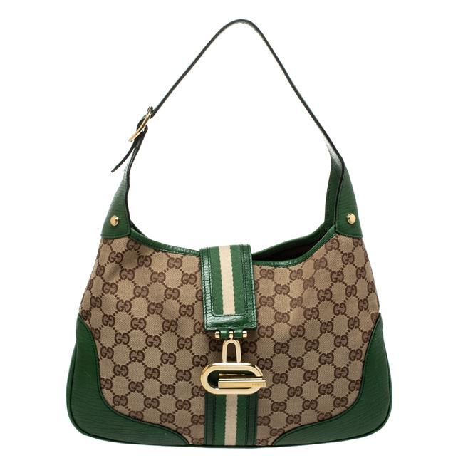Item - Green/Beige Gg Junco Green Canvas and Leather Hobo Bag