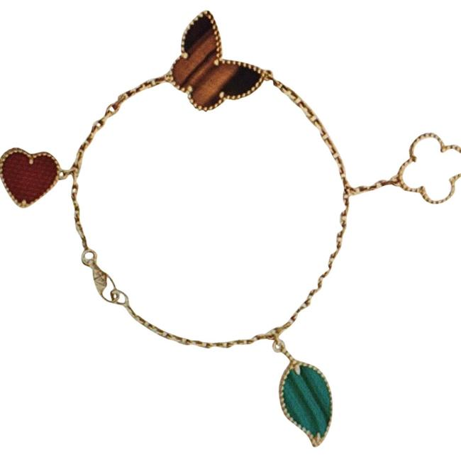 Unbranded Carncarnelian Mother Of Pearl Malachite and Tiger's Eye 18k Gold Butterfly Love Four-leaf Clover & Leaf Bracelet Unbranded Carncarnelian Mother Of Pearl Malachite and Tiger's Eye 18k Gold Butterfly Love Four-leaf Clover & Leaf Bracelet Image 1