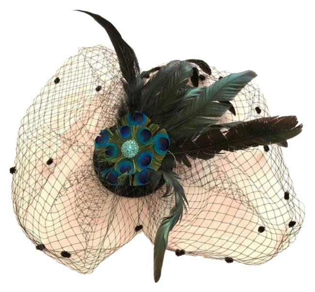 Item - Black Green Ladies Feathered Net Peacock Hair Piece Clip Hat