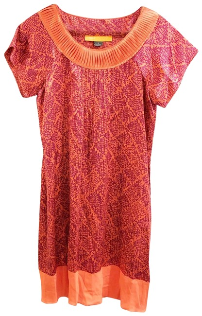 Cynthia Steffe Orange Pattern Shift Short Work/Office Dress Size 2 (XS) Cynthia Steffe Orange Pattern Shift Short Work/Office Dress Size 2 (XS) Image 1