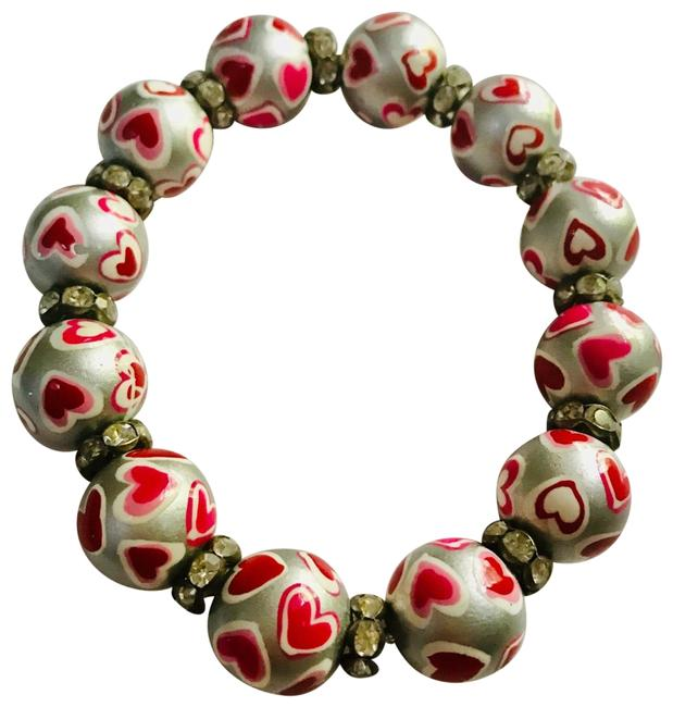 Item - Red Silver New Hand Painted Multicolor Classic Bead Bracelet