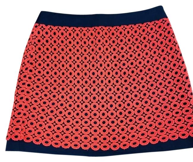 Item - Pink Blue Coral Navy Heavy Lace Knit Mini Zip Back Skirt Size 10 (M, 31)