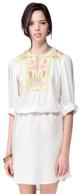 Item - White Anthropologie Embroidered Floral Tunic Short Casual Dress Size 12 (L)