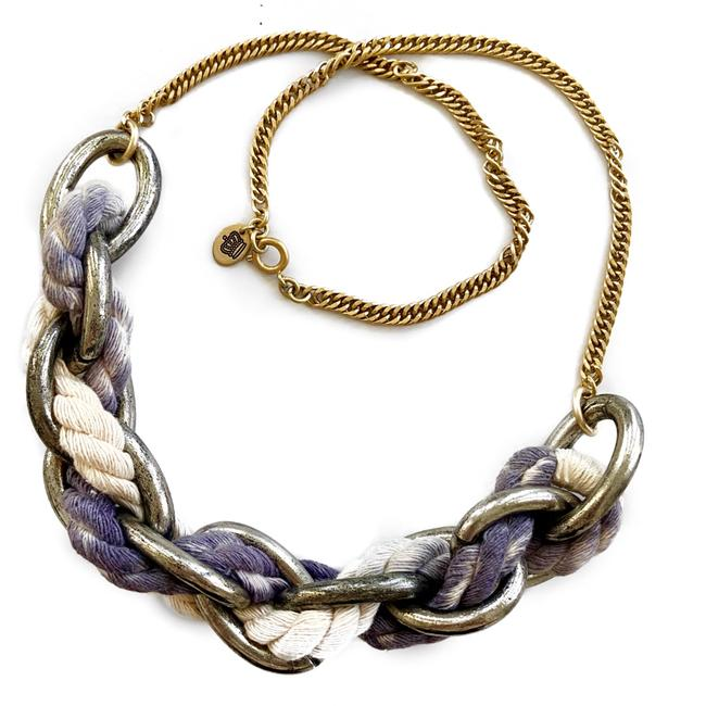 Item - Silver/Gold/Blue/White Rope Chunky Chain Statement Necklace