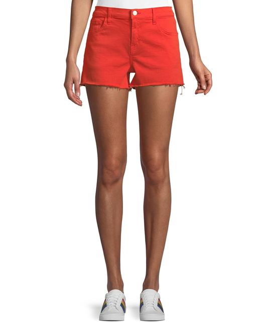 J Brand Bright Coral Red W Low-rise W/ Frayed Hem Shorts Size 4 (S, 27) J Brand Bright Coral Red W Low-rise W/ Frayed Hem Shorts Size 4 (S, 27) Image 1