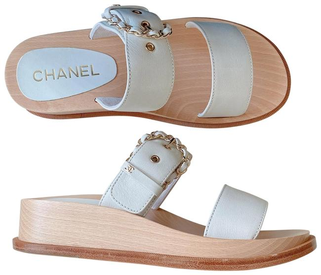 Item - White Gold Leather Straps Chain Sandals Mules/Slides Size EU 37 (Approx. US 7) Regular (M, B)
