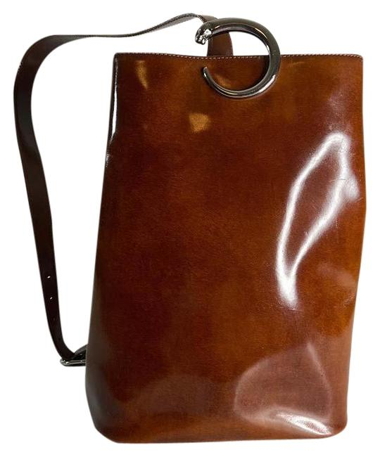 Item - Panthere Silver Hardware Brown Leather Backpack