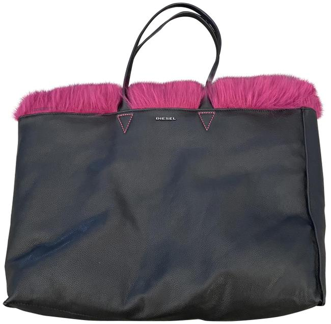 Item - Black and Pink Lambskin Leather Faux Fur Tote
