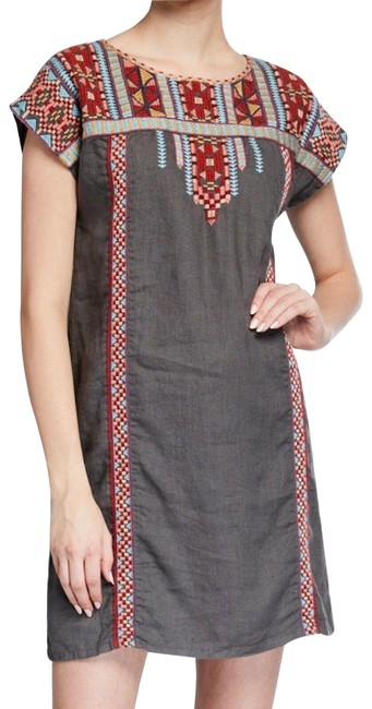 Item - Gray Ezra Shift Tunic Linen Embroidered Mid-length Short Casual Dress Size 2 (XS)