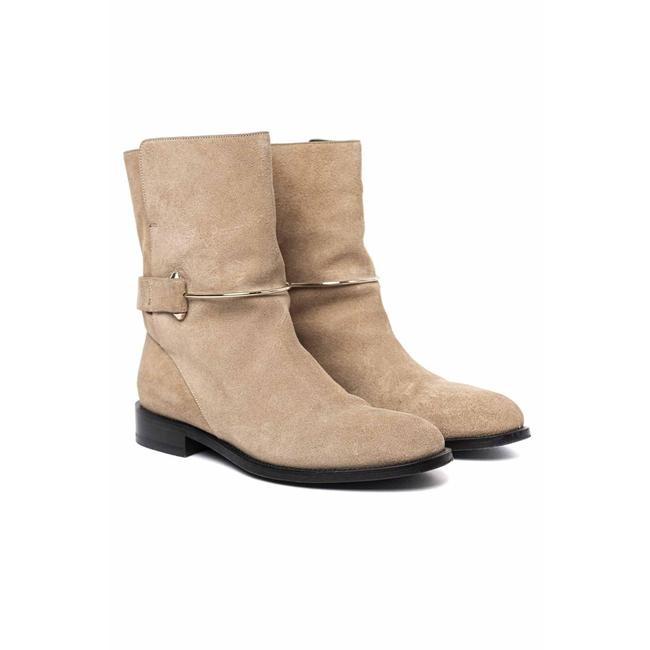 Item - Camel Metal Bar High Ankle Leather Boots/Booties Size US 8 Regular (M, B)