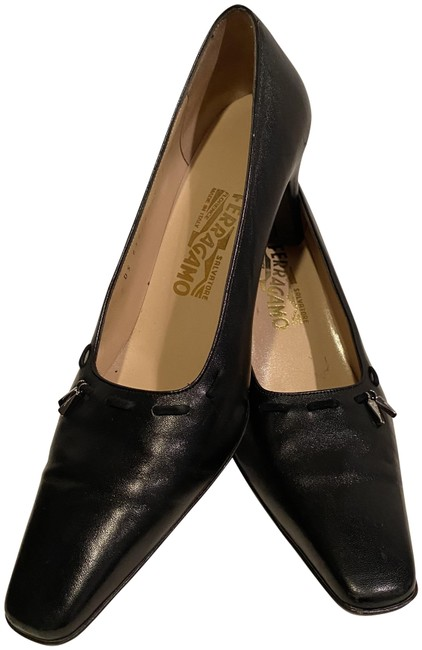 Item - Black Velvet Stitch Square Toe Pumps Size US 9 Regular (M, B)