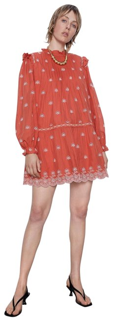 Item - Orange With Cutwork Embroidery Long Sleeves Color Nwt. Short Casual Dress Size 10 (M)