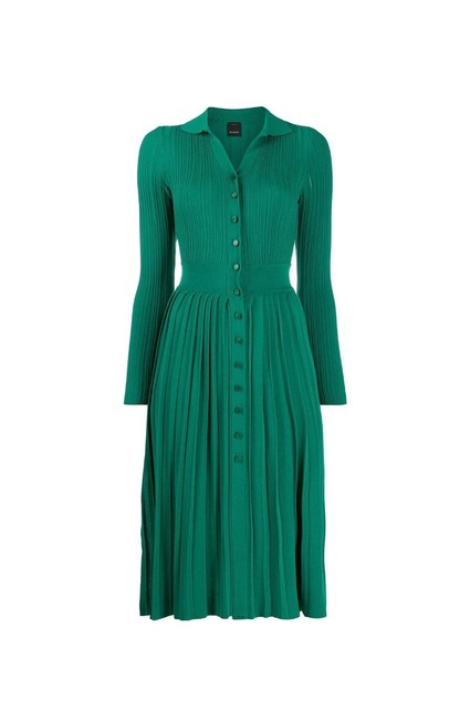 Pinko Green Buttons In Lurex Knit Mid-length Night Out Dress Size 4 (S) Pinko Green Buttons In Lurex Knit Mid-length Night Out Dress Size 4 (S) Image 1
