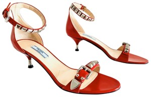 Prada Rockstud Studded Ace Bee Red Sandals