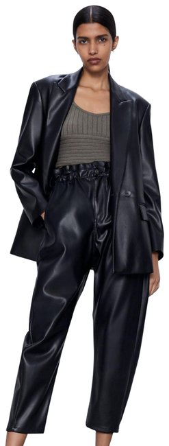 Zara Black Baggy W High Waist Faux Leather Joggers W/ Pockets New. Pants Size 12 (L, 32, 33) Zara Black Baggy W High Waist Faux Leather Joggers W/ Pockets New. Pants Size 12 (L, 32, 33) Image 1