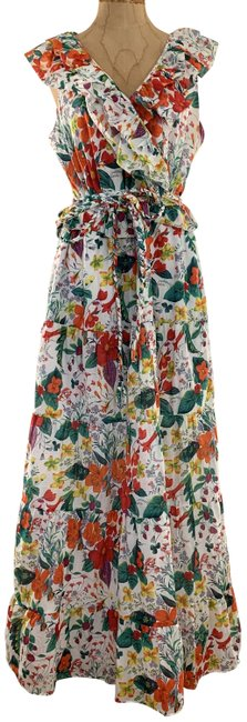 Item - Multi-floral Ruffle-front In Ratti® Island Botanical Print (10) Long Casual Maxi Dress Size 10 (M)