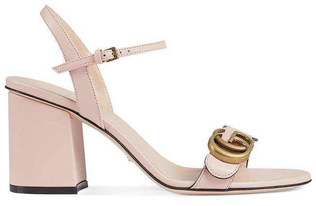 Item - Pink Marmont Perfect Leather Gg Ankle Strap Block Heel Mule Pump Sandals Size EU 40 (Approx. US 10) Regular (M, B)