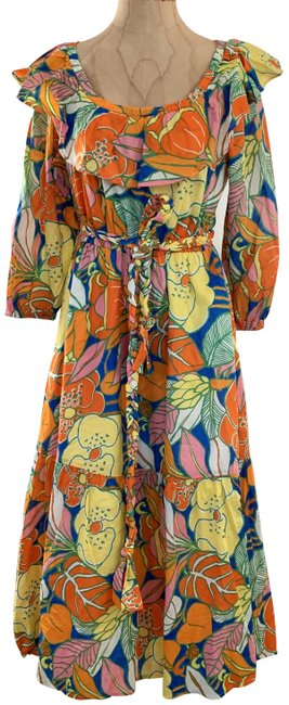 Item - Tropical Floral XS Belted Long Casual Maxi Dress Size 2 (XS)