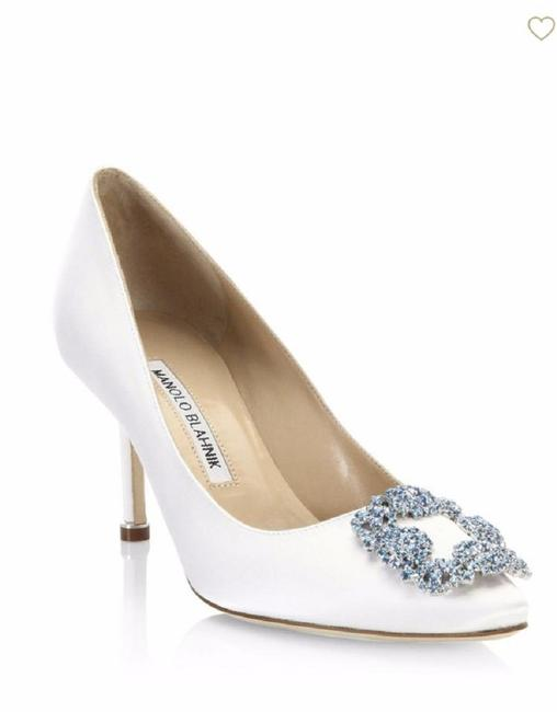 Item - White Hangisi Satin Jeweled Crystal Point-toe 70mm Pumps Size EU 38 (Approx. US 8) Regular (M, B)