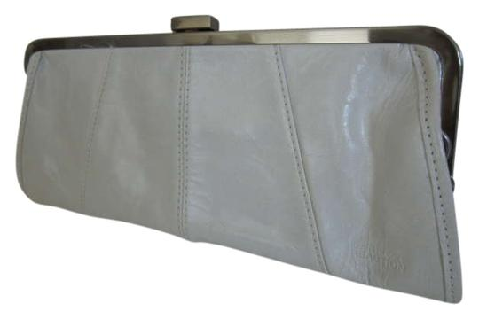 Kenneth Cole Reaction Leather Metallic Hardware White Clutch