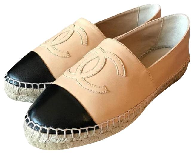 Item - Beige Black Espadrilles Leather Cc Cap Double Sole Flats Size EU 38 (Approx. US 8) Regular (M, B)