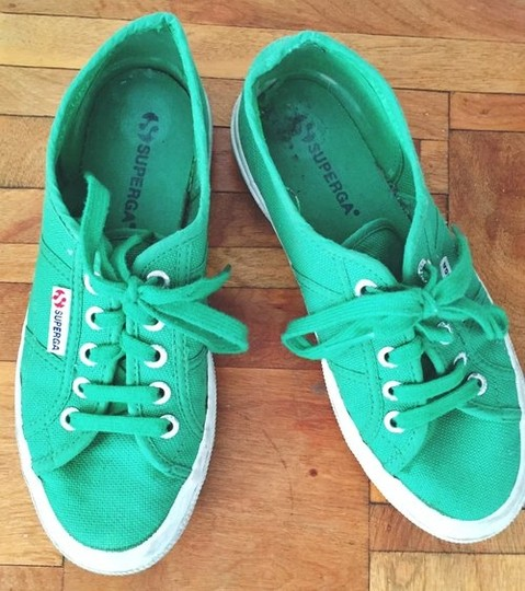 Superga Sneakers Tennis Lace Ups Lace Up Laces Flats Kelly Preppy Italian Green Athletic