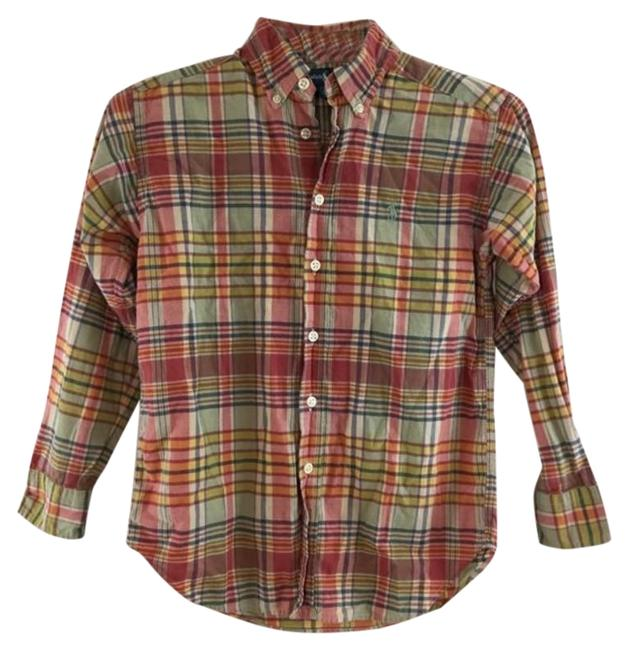 Item - Red & Yellow (Kid) Plaid Shirt Button-down Top Size 8 (M)