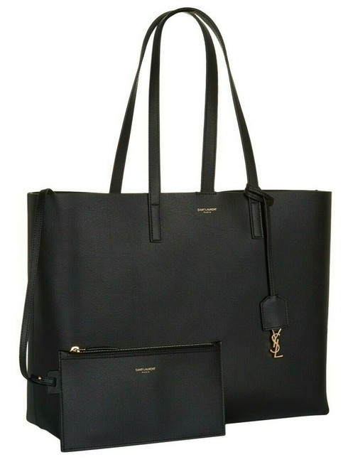 Item - Bag Ysl 2 Pc Purse Black Leather Tote