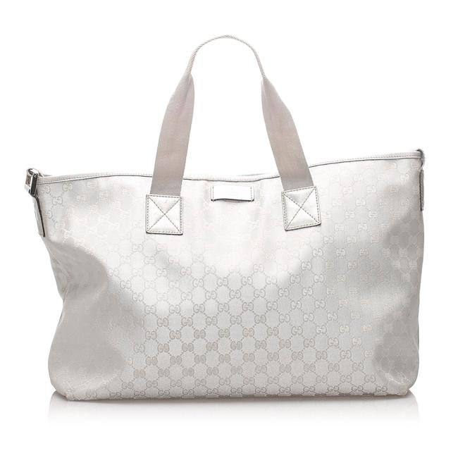 Item - Gg Canvas Silver Leather Weekend/Travel Bag
