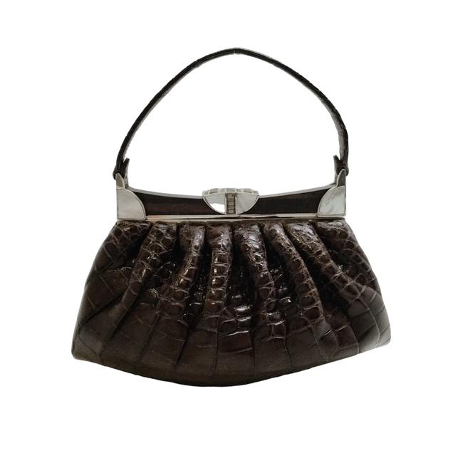 Item - With Mother Of Pearl Brown Croc Satchel