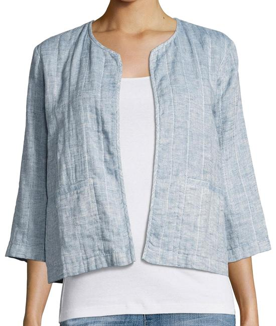 Item - Chambray Blue Quilted Organic Cotton Linen Gauze Blazer 1x Jacket Size 20 (Plus 1x)
