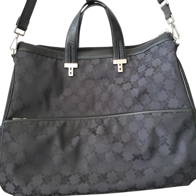 Item - With Leather Trim Black Exterior and Blue Interior Nylon Weekend/Travel Bag