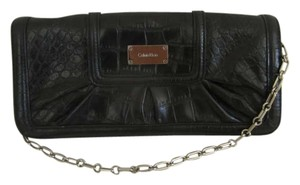 Calvin Klein Leather Metallic Hardware Chain Strap Hobo Bag