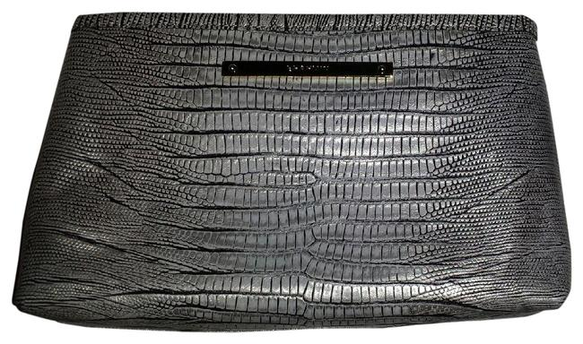 Item - Silver Clutch Croc Emb Leather Multi-function Case Cosmetic Bag