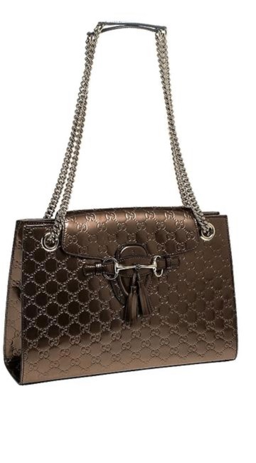 Item - Emily simma Large Chain Bronze Patent Leather Shoulder Bag