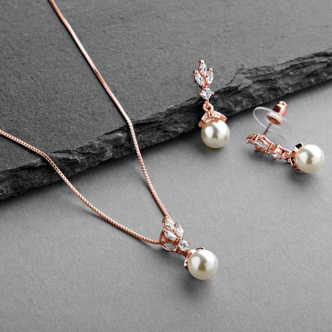 Mariell Rose Gold Cubic Zirconia Light Ivory Pearl Drop Earrings Jewelry Set Mariell Rose Gold Cubic Zirconia Light Ivory Pearl Drop Earrings Jewelry Set Image 1