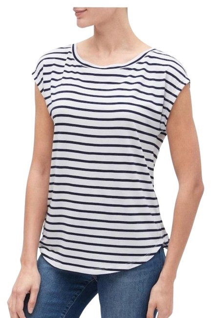 Gap Blue White Luxe Striped Tee Shirt Size 6 (S) Gap Blue White Luxe Striped Tee Shirt Size 6 (S) Image 1