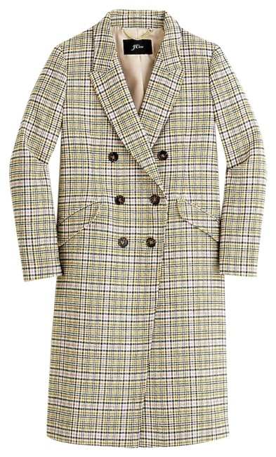 Item - Warm Caramel Ivory Long Double-breasted Topcoat In Plaid. Coat Size 4 (S)