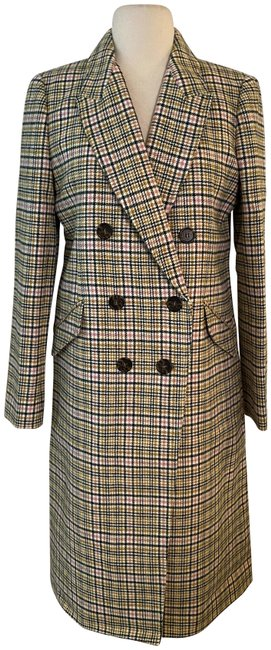 Item - Warm Caramel Ivory Long Double-breasted Topcoat In Plaid. Coat Size 6 (S)