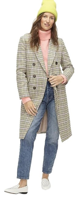 Item - Warm Caramel Ivory Long Double-breasted Topcoat In Plaid. Coat Size 10 (M)