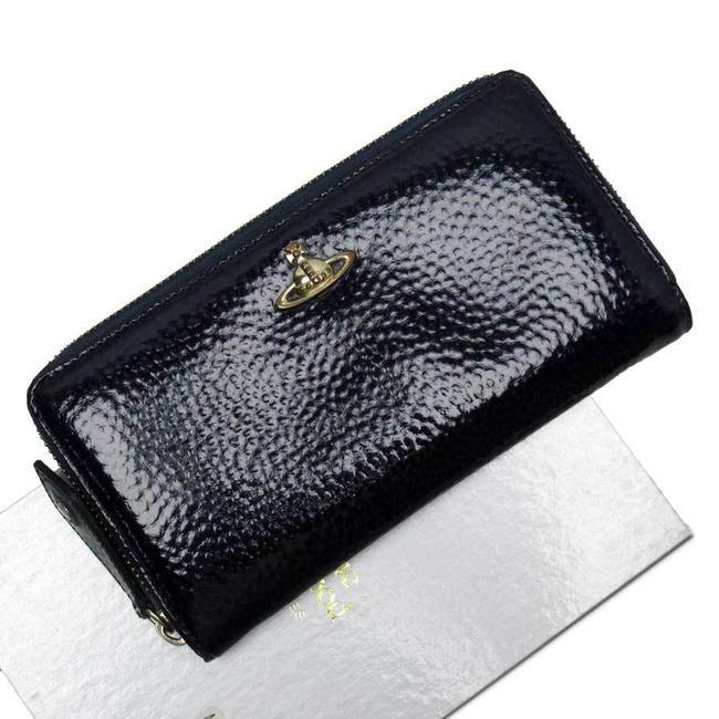 Item - Gold / Navy Zipper Orb Patent Leather Ladies Wallet