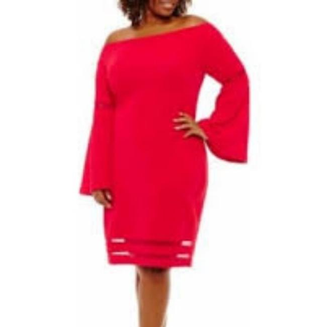 Item - Red L Long Sleeve Bodycon Mid-length Cocktail Dress Size 12 (L)