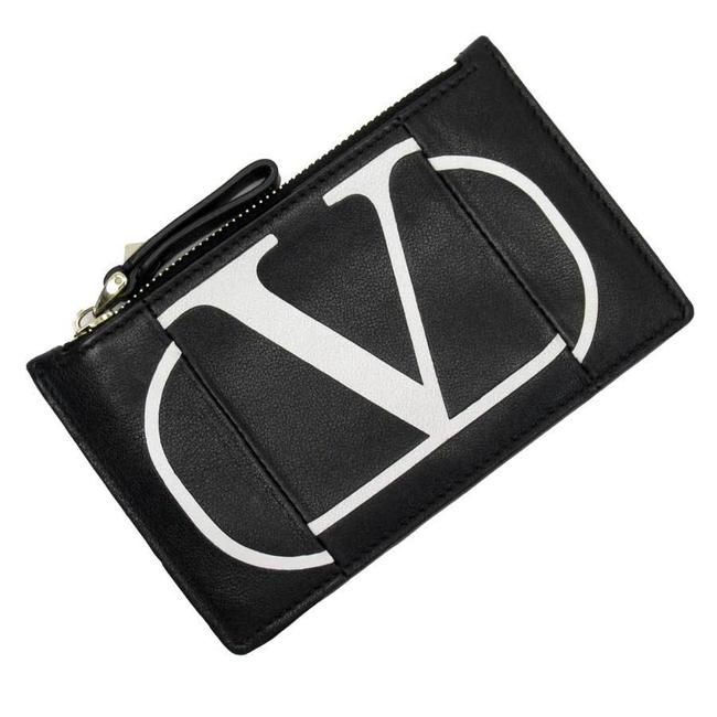 Item - Black / White Garavani Coin Case Card Leather Garavani Ladies Wallet