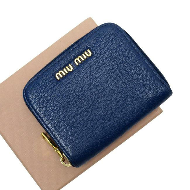 Item - Gold / Navy Coin Case Leather Ladies Wallet